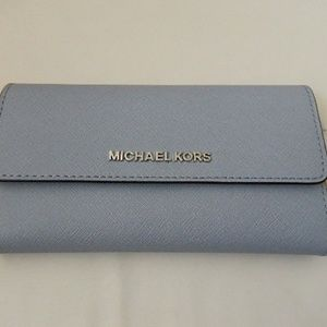 MICHAEL KORS Large Saffiano TriFold Wallet in Blue